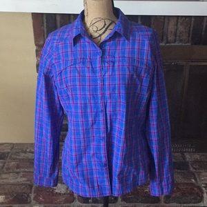 Columbia plaid long sleeve blouse